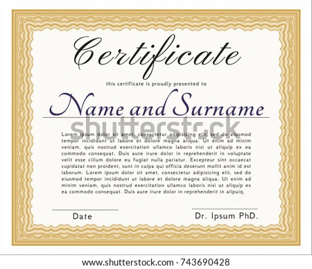 Vector certificate completion template 56196622 orange diploma or certificate template customizable easy to edit and change colors with yelopaper Images