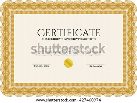 Orange Diploma template or certificate template. With quality background. Vector pattern that is used in money and certificate. Beauty design.