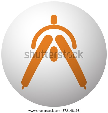 Orange Drafting Compass icon on sphere isolated on white background - stock vector