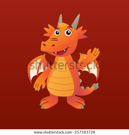 Orange Dragon - stock vector