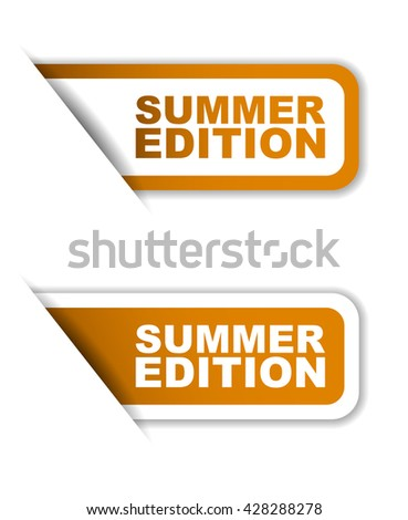 Orange easy vector illustration isolated horizontal banner summer edition two versions. This element is well adapted to web design. - stock vector