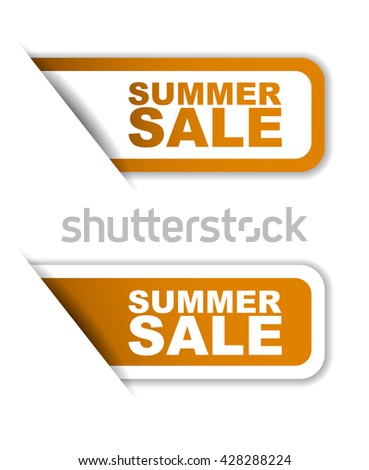Orange easy vector illustration isolated horizontal banner summer sale two versions. This element is well adapted to web design. - stock vector