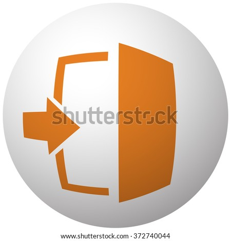 Orange Enter icon on sphere isolated on white background - stock vector