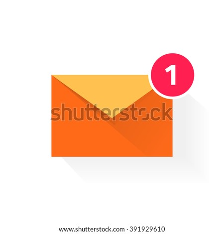 Orange envelope with red badge icon, concept of email received, application symbol, electronic mail, incoming e-mail, flat modern design vector illustration isolated on white background - stock vector