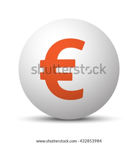 Orange Euro icon on white ball