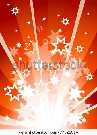 Orange explosion with many stars - stock vector