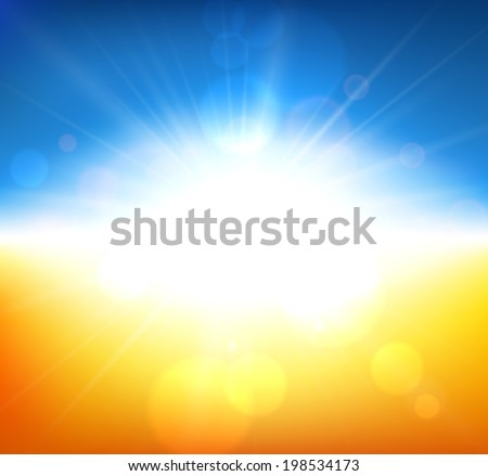 Orange field with blue sky blurry background. Vector illustration.