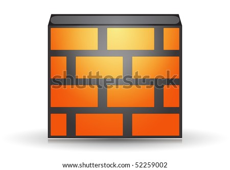 Orange firewall icon isolated concept - stock vector