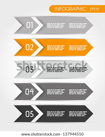 orange five infographic double arrows. infographic concept. - stock vector