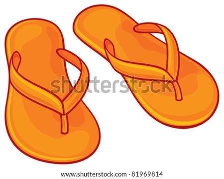 orange flip flops - stock vector