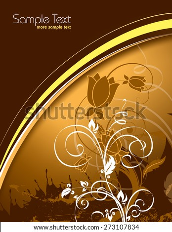 Orange Floral Background. - stock vector