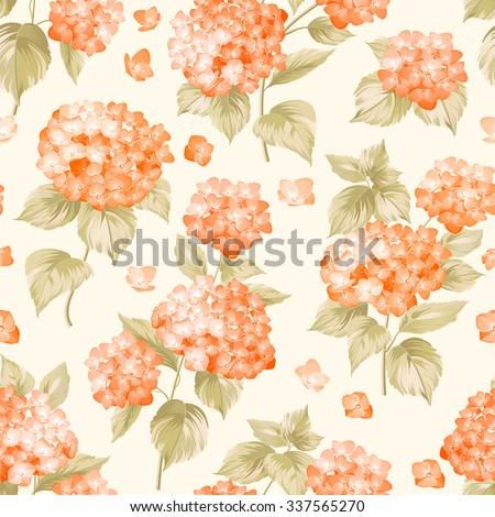 Orange flower hydrangea on seamless background. Mop head hydrangea flower pattern. Beautiful orange flowers. Vector illustration. - stock vector