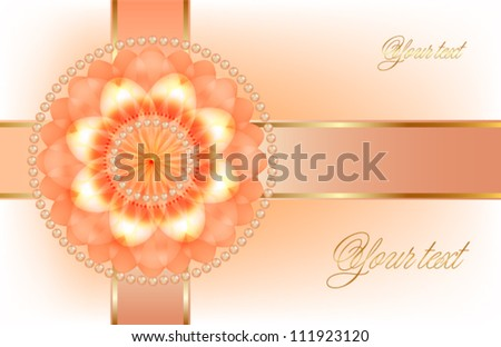 Orange flower with ribbon, holiday decoration gift envelope - stock vector