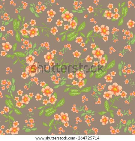 Orange flowers on beige background. Seamless nature pattern - stock vector