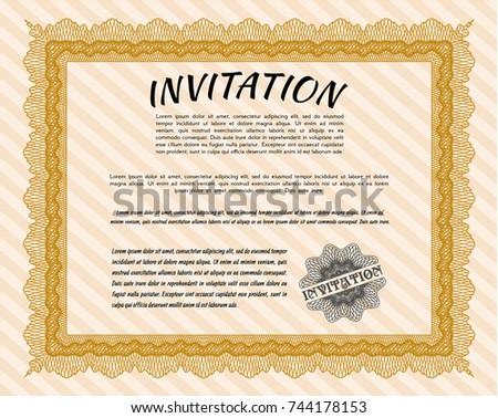 Orange formal invitation background elegant design stock vector orange formal invitation with background elegant design detailed stopboris Choice Image