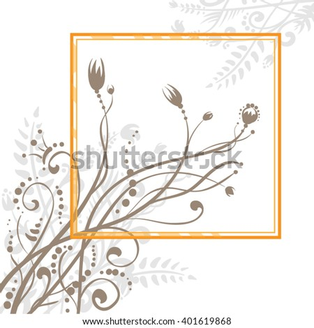Orange frame with flowers on white background - stock vector