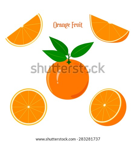Orange fruit and slices isolated on white background.
