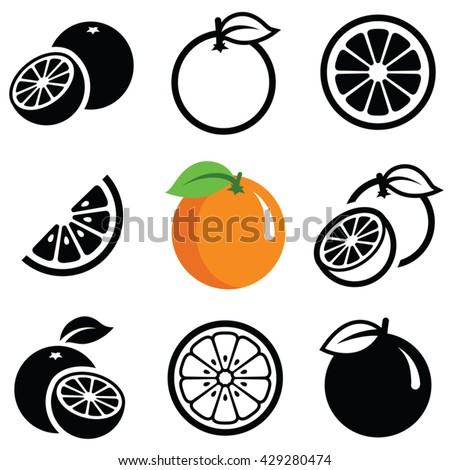 Orange fruit icon collection - vector outline and silhouette - stock vector