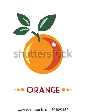 orange fruit isolated - stock vector