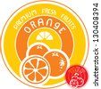 Orange fruit label - stock photo