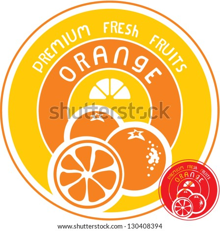 Orange fruit label - stock vector