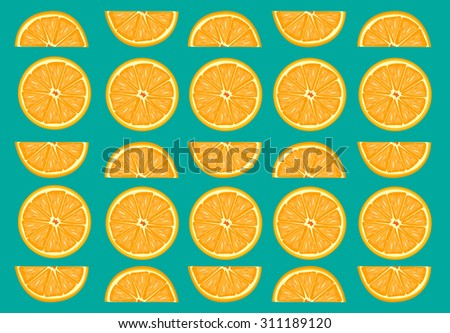 Orange fruit slices vector - stock vector