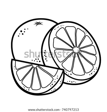 Orange Fruit Clipart Black And White
