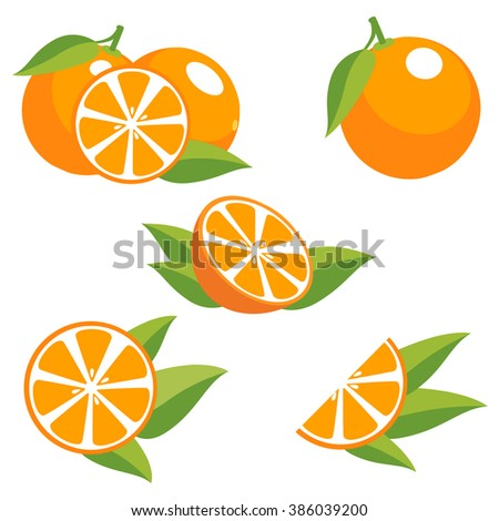Orange fruit with leaves. Collection of different fresh orange fruit.