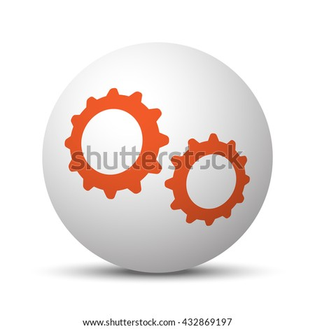 Orange Gears icon on white ball
