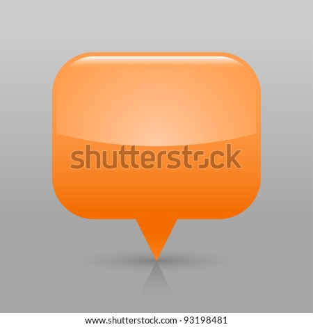 Orange glossy blank map pin icon. Rounded rectangle web button with shadow and reflection on light gray background. This vector illustration saved in 8 eps - stock vector