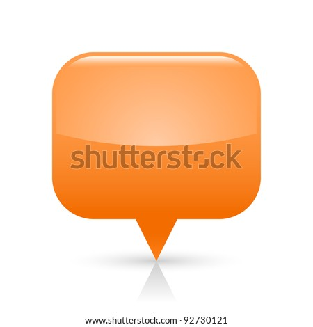 Orange glossy blank map pin icon web button. Rounded rectangle shape with gray shadow and reflection on white background. This vector illustration saved in 8 eps - stock vector