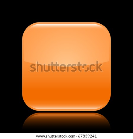 Orange glossy blank web 2.0 button with colored reflection on black background - stock vector