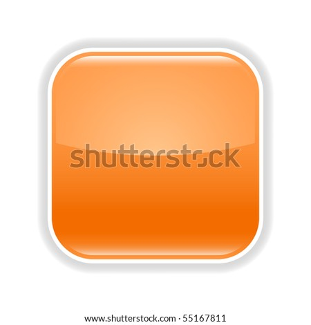 Orange glossy blank web 2.0 button with gray shadow on white background - stock vector