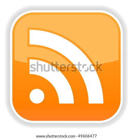 Orange glossy button with rss symbol and shadow on white - stock vector