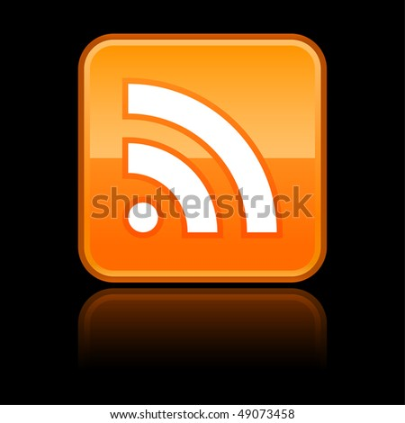 Orange glossy button with RSS symbol on black - stock vector