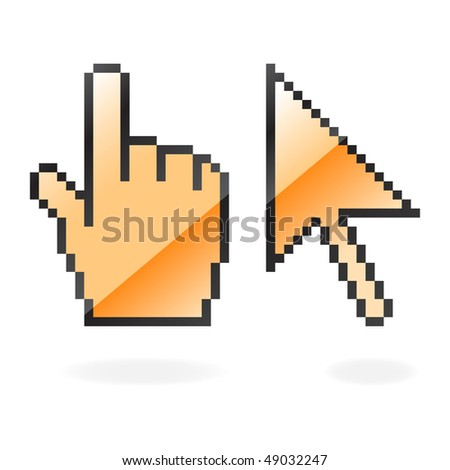 Orange glossy cursor and hand with shadow on white