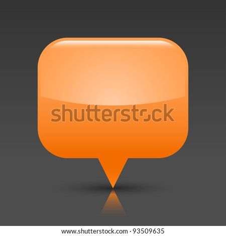 Orange glossy empty blank map pin button. Rounded rectangle web icon with black shadow and color reflection on dark gray background. This vector saved in 8 eps. See more buttons in my gallery - stock vector