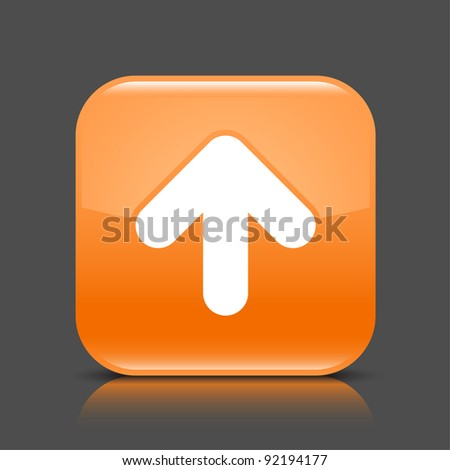 Orange glossy internet button with arrow upload symbol. Rounded square shape icon with black shadow and colored reflection on dark gray background. This vector illustration saved in 8 eps - stock vector