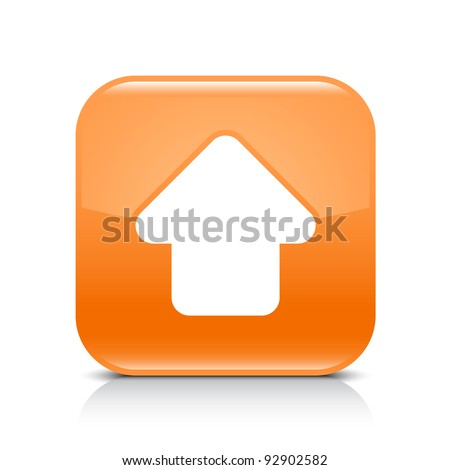 Orange glossy internet button with arrow upload symbol. Rounded square shape icon with shadow and reflection on white background. This vector illustration created and saved in 8 eps - stock vector