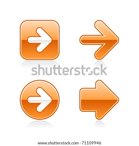 Orange glossy web 2.0 arrow button with gray reflection on white