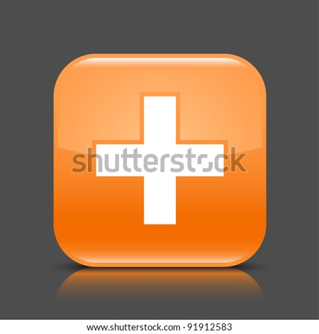 Orange glossy web button with add sign. Rounded square shape icon with black shadow and colored reflection on dark gray background. This vector illustration created and saved in 8 eps - stock vector