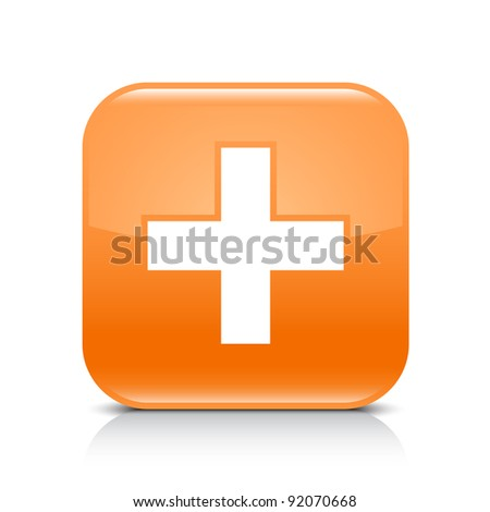 Orange glossy web button with add sign. Rounded square shape icon with shadow and reflection on white background. This vector illustration created and saved in 8 eps - stock vector
