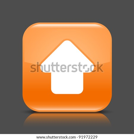 Orange glossy web button with arrow upload sign. Rounded square shape icon with black shadow and colored reflection on dark gray background. This vector illustration created and saved in 8 eps - stock vector