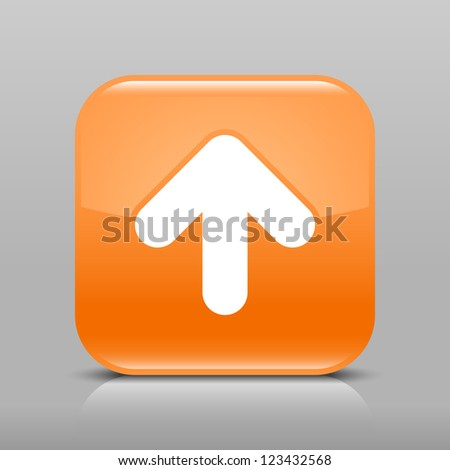 Orange glossy web button with arrow upload sign. Rounded square shape icon with shadow and reflection on light gray background. This vector illustration web design element saved in 8 eps - stock vector