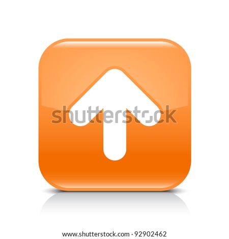 Orange glossy web button with arrow upload sign. Rounded square shape icon with shadow and reflection on white background. This vector illustration created and saved in 8 eps - stock vector