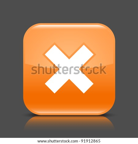 Orange glossy web button with delete sign. Rounded square shape icon with black shadow and colored reflection on dark gray background. This vector illustration created and saved in 8 eps - stock vector