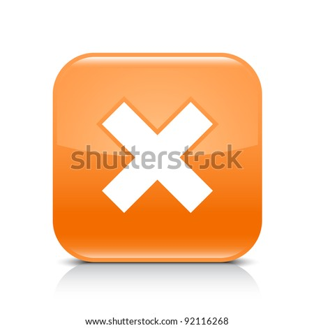 Orange glossy web button with delete sign. Rounded square shape icon with shadow and reflection on white background. This vector illustration created and saved in 8 eps - stock vector