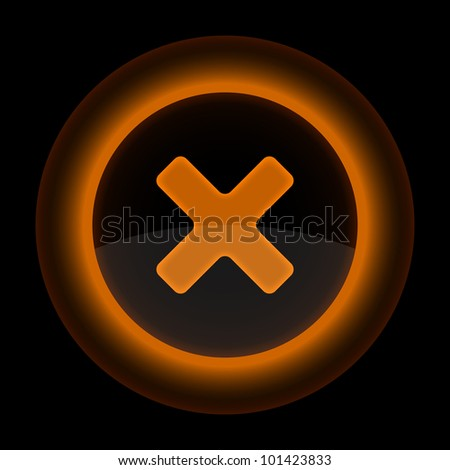 Orange glossy web button with delete sign. Shape icon on black background. 10 eps