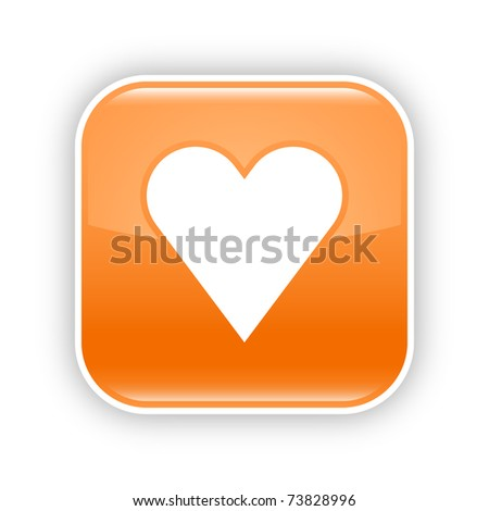 Orange glossy web 2.0 button with heart sign. Rounded square sticker with shadow on white. 10 eps - stock vector