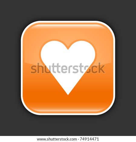 Orange glossy web 2.0 button with heart sign. Rounded square with drop shadow on gray. 10 eps - stock vector